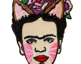 Frida Catlo Iron On Patch Embroidery Sewing DIY Customise Frida Kahlo Inspired Mexican Artist Feminist Day of the Dead Cat Lover Kitten