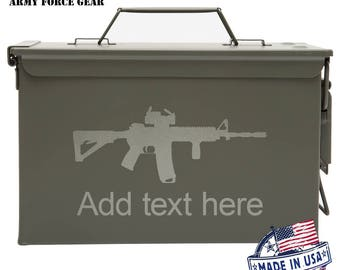 AR15 M4 Assault Rifle Custom Engraved 30/50 Cal Ammo Can Personalized Dad Gift, Cool Guy Gifts Father's Day Gift, Grandpa Gift, Husband Gift