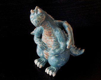 Green Sculpted Stoneware Dragon Figurine BIG BROTHER to Baby Dray