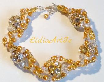 Fabulous crystal,beaded bracelet,bransoletka, glamour bracelet,party bracelet