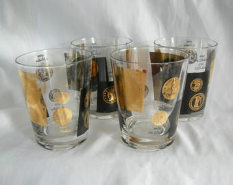 Coin Glasses | Mid Century Ad Men | Cera Low Ball High Ball On the Rocks | Vintage 1950s 1960s