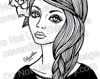 Digital Download Print Your Own Coloring Book Outline Page - Pretty Tattooed Pin Up Girl