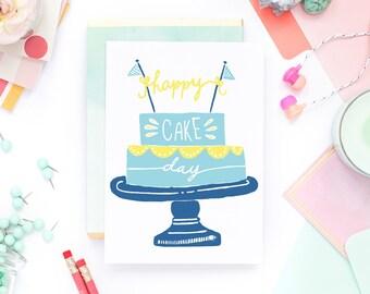 Funny Birthday Card - Happy Cake Day - Dad Birthday, Brother Birthday, Child Birthday Card, Nephew Birthday Card, Kid Birthday Card