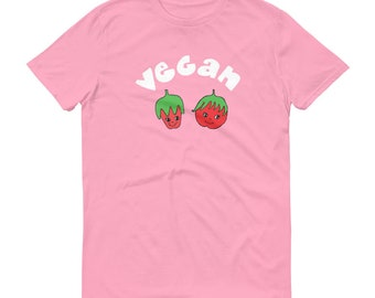 Cute Vegan Strawberry and Tomato Fruit Face T Shirt Veganism Shirt Plant Based Diet Raw Foodist