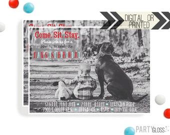 Puppy Birthday Invitation | Digital or Printed |  Puppy Party | Dog Invite |  Puppy Dog Invite | Black Puppy Invitation | Black Dog Party