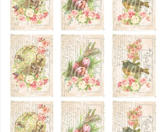 Bird Tags, French Roses, Nests and Birds, French Country Printable Instant Download Tf004
