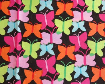 very colorful butterflies fabric
