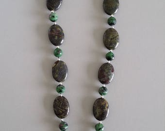 Dragon Blood Jasper with Ruby in Zoisite Necklace with Pendant