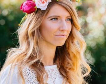 Spring Flower Crown, flower crown, boho flower crown, boho chic, wedding accessories, spring flowers,
