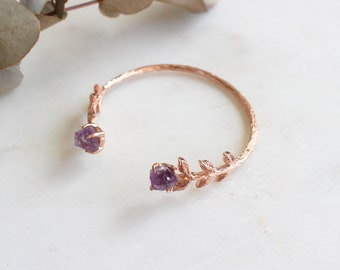 Natural Gemstone Amethyst Leaves Bangle in Rose Gold. Handcrafted Dainty Luxury Gift Perfect for All Occasions.