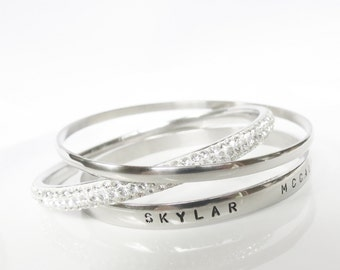 Bracelet Personalized Bangle Stackable Bracelet Names Dates Stainless Steel Silver Engraved Jewelry Gift Mom Grandma
