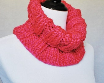 Pink Knit Cowl, Ribbed Neck Warmer, Short Infinity, Turtleneck Collar Scarf - Wide, Ribbed Knit, Bright Pink, Fuchsia