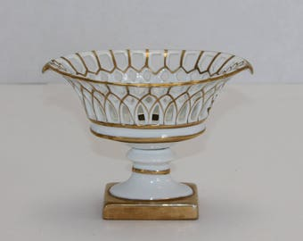 Antique 19th c. French Empire Paris Porcelain Gilt Reticulated Basket or Corbielle on Stand