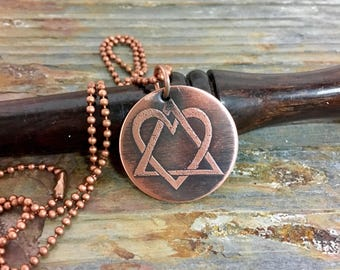 adoption symbol etched copper necklace, adoption triad, symbol of adoption, handmade