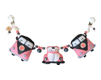 Wagon tensioner for the stroller with vans and beetle in mint, blue, pink and ochre yellow