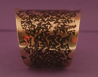 Hammered Brass Cuff-Handmade Forged hammered and Textured Nu Gold Brass Bracelet Created by Michael Ferreira on Etsy