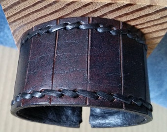 "BROWN LEATHER CUFF Bracelet. Wide Wristband. With Handstitched Border. For Men, Women, Unisex. 7 to 7-1/2"" Wrist Size. Copper Hook Clasp."