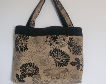 Bag Purse Tote  Bag Beige Tan Black Floral Large Fall Tote Bag handmade  Black Chrysanthemum   Book Bag  Black Week End Bag Black Flowers