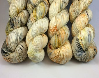 Hand Dyed Yarn - Hand Painted -  Feeling Koi - Yellow - Gold - Orange - Black - Dyed to Order