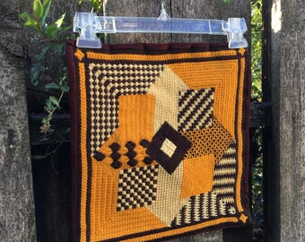 Vintage Needlepoint Pillow Butterscotch Brown and Cream Colors, Geometric Pattern Design