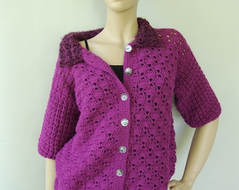 Crochet Cardigan, Jackets, Alpaca Cardigan, Orchid Sweater, Crocheted Cardigans, Cardigan Women, Gift for Her, Available in S/M and L/Xl