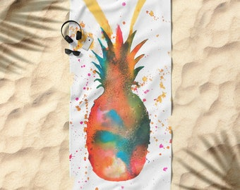 "Pineapple Beach Towel Bath Towel Fruit Pool Towel Summer Fruit Bathroom  Tropical Beach Towel Kids Beach Towel Beach Seaside Summer 74 x 37"""