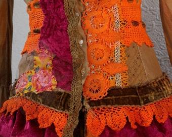 """Cotton jacket """"Zoïa"""", color chocolate, Art to wear, Unique, Feminine"""