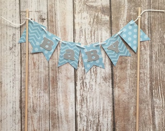 Blue Baby Shower Cake Bunting with Grey & White Lettering - Baby Boy Shower, Sprinkle