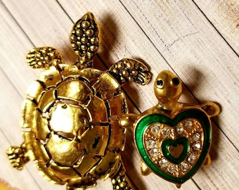 Vintage Turtle Brooches Figural Gold and Green Heart Enamel Rhinestone Turtle Pins