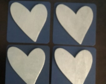 Navy and Silver Heart Wood Coasters