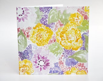 Greeting Card Floral pattern Lilac-yellow