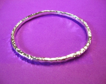 Simple and Timeless hammered silver bangle bracelet - heavy solid .925 sterling