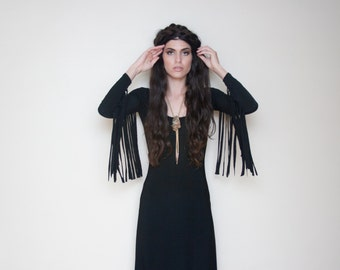 Black Fringe Sleeve Scoop Neck Maxi Dress XS S M L XL