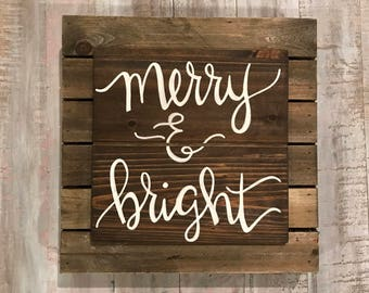 Merry & bright rustic wood layered sign