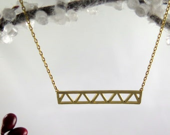 Gold Triangle Bar Necklace,  Gold Geometric Necklace,  Dainty Necklace, Layering Necklace, Celebrity Necklace, Trendy Jewelry