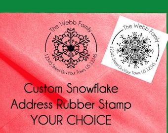 Custom Christmas Winter Address Stamp Round Snow flake - Handmade