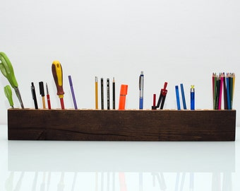 Epic 70cm, 37 holes Handmade Wooden Desk Organizer, Desk Caddy, Office Desk Accessories, Desk Storage, Pencil Holder, Desk Tidy,  Valentines