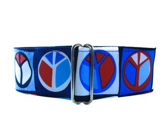 Peace Sign Martingale Collar, 2 inch Martingale Collar, 70's Dog Collar, Retro Martingale Collar, Greyhound Collar, Peace Sign Dog Collar