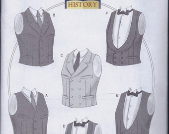 Butterick 6339 Men's Victorian Edwardian Vests Single-Breasted Double-Breasted UNCUT Sewing Pattern