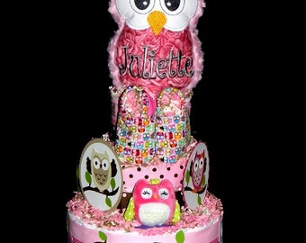 Classy Owl Diaper Cake - Custom Ordered - U Pick The Owl Topper & Ribbons
