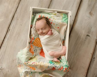 Tied QUILTS for Baby - Photography Prop - Thicker and Yarn Tied - Crib Quilt - Car Seat Quilt