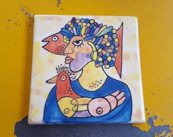 """Vintage Art Tile~Abstract Tile Picasso Style Art~Hand painted Tile~Voluptuous Female/Bird/Fish Signed """"G""""~Glazed earthenware~JewelsandMetals"""