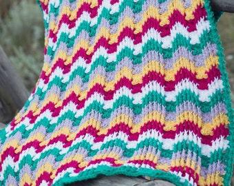Crochet Pattern, Reversible Textured Chevron Afghan