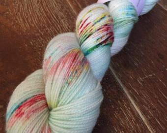 Hand Dyed Superwash Merino Nylon Titanium Sock Yarn, 100g/3.5oz, 'Turn Up The Radio'