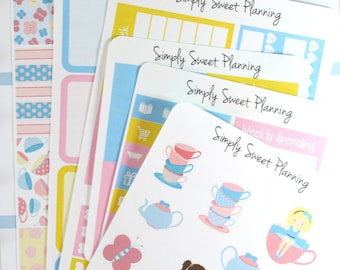 Tea Party Planner Sticker Kit - Happy Planner - Erin Condren - Functional Stickers - Matte - Weekly Planner - Plum Planner