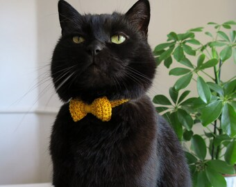 Cat collar, yellow cat collar with bow, bow cat collar, breakaway cat safety collar, soft kitten collar, quick release cat collar