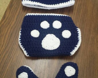 Baby Hat, Booties and Diaper Cover Set