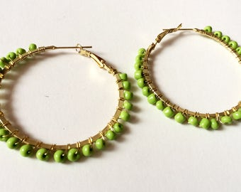 Green Hoop Earrings,Large gold hoop Earrings,Belly Dancers Earrings,boho Earrings,bohemian jewelry by Taneesi