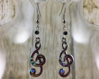 Treble Clef Earrings | Music Earrings | Music Note Earrings | Silver Earrings | Music Jewelry | Gift for Her Under 25 Dollars | Gift for Mom