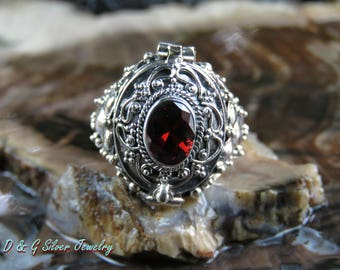 Bali Silver Poison Ring with Garnet Gemstone LR-765-DG
